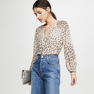 NWT Joie Cordell Silk Leopard Print Blouse